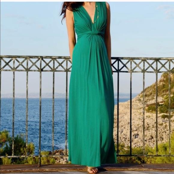 4709badb8ff2ce Seraphine Emerald Front Knot Maternity Dress. M 5aa55db92ae12f3922de5598
